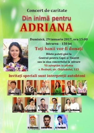 Charity Concert organized for Adriana Proca in Budesti.